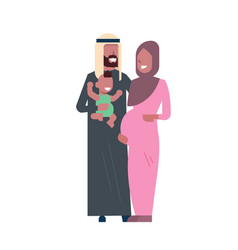 Arab pregnant mother father hold baby son full vector