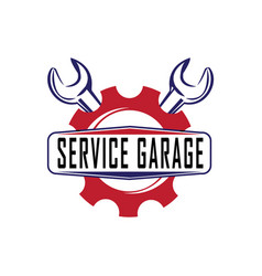 auto service garage with wrench logo vector image