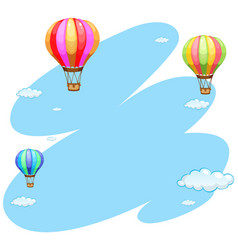 background template with three balloons in sky vector image