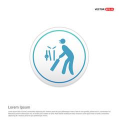 batsman icon - white circle button vector image
