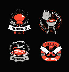 Bbq grill barbecue logo or symbol labels for vector