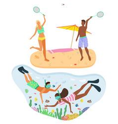 beach badminton snorkeling beach activities vector image