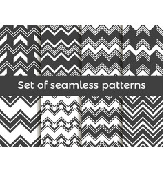 black and white zig zag set of seamless pattern vector image