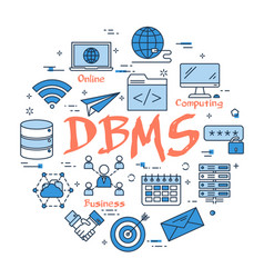 blue round dbms concept vector image