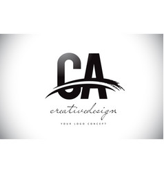 Ca c a letter logo design with swoosh and black vector