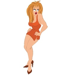Cartoon girl with blond hair in orange dress vector
