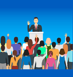 Cartoon public speaker politician card poster vector