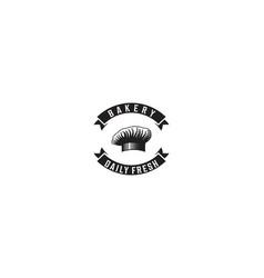 chef hat ribbon vintage bakery shop logo vector image