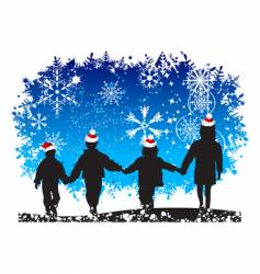 Christmas holiday happy children vector image