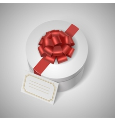 Classic giftbox with red ribbon bow and blank vector