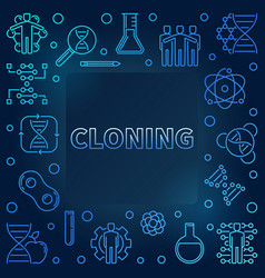 Cloning blue outline square frame vector