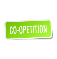 Co-opetition square sticker on white vector