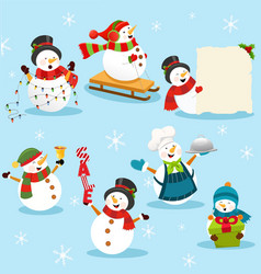 collection cute snowman characters vector image