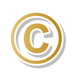 Copyright sign golden vector