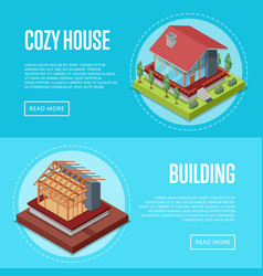 Cozy house building posters set vector