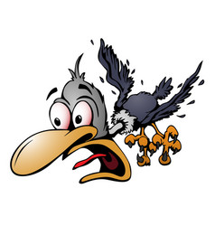 Crazy cartoon bird vector