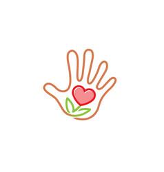 creative human hand love flower logo vector image
