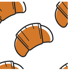 Croissant bakery food seamless pattern pastry vector