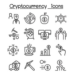 Cryptocurrency icon set in thin line style vector