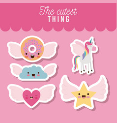 cutest thing poster set of donut and cloud and vector image