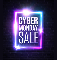 cyber monday sale banner neon rectangle background vector image