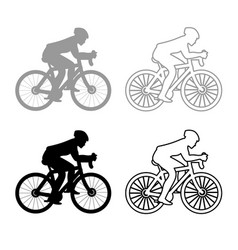 cyclist on bike silhouette icon outline set grey vector image