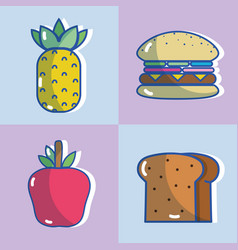 Delicious fruits with hamburger and slice bread vector
