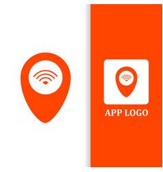 Design logo pointer wifi for app business vector