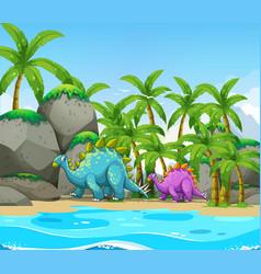 Dinosaur next to the beach vector