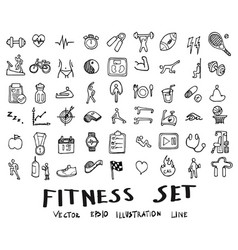 Doodle sketch fitness icons eps10 vector
