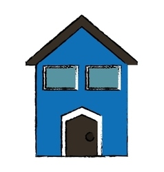 Drawing blue house windows vector