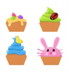easter cupcakes vector image vector image