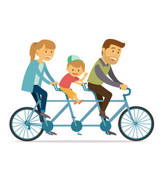 family ride tandem bike on holiday vacation vector image