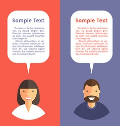 Father and Mother with Speech Bubbles Flat Design vector image