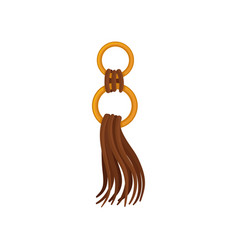 Flat icon of brown leather tassel on golden vector