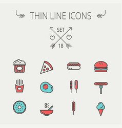 Food and drink thin line icon set vector