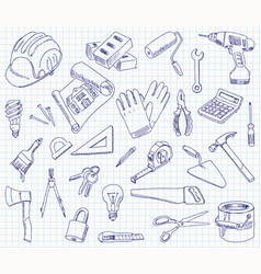 Freehand drawing building materials vector