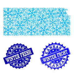 Frost map of kansas state and winter fresh and vector