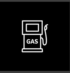 gas station line icon on black background black vector image
