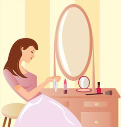 Girl-Before-a-Mirror vector image