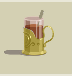 Glass cup with tea in a gold cup holder vector