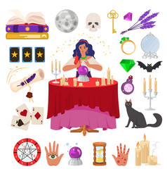 gypsy fortune teller with magic crystal ball and vector image