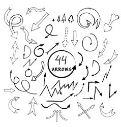 hand drawn arrows icons set isolated on vector image