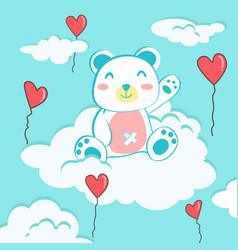 happy valentines day with teddy bear on cloud vector image