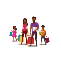 happy young family shopping flat concept vector image