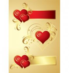 Heart banners vector