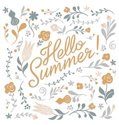 Hello summer lettering on white background vector