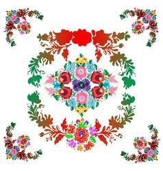 Hungarian matyo folk pattern vector