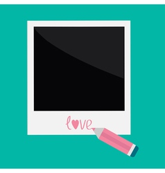Instant photo and pencil in flat design style Love vector image