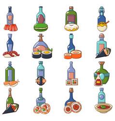 Japanese booze icons set cartoon style vector